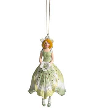 Kerstroos meisje hangend lichtgroen 11cm