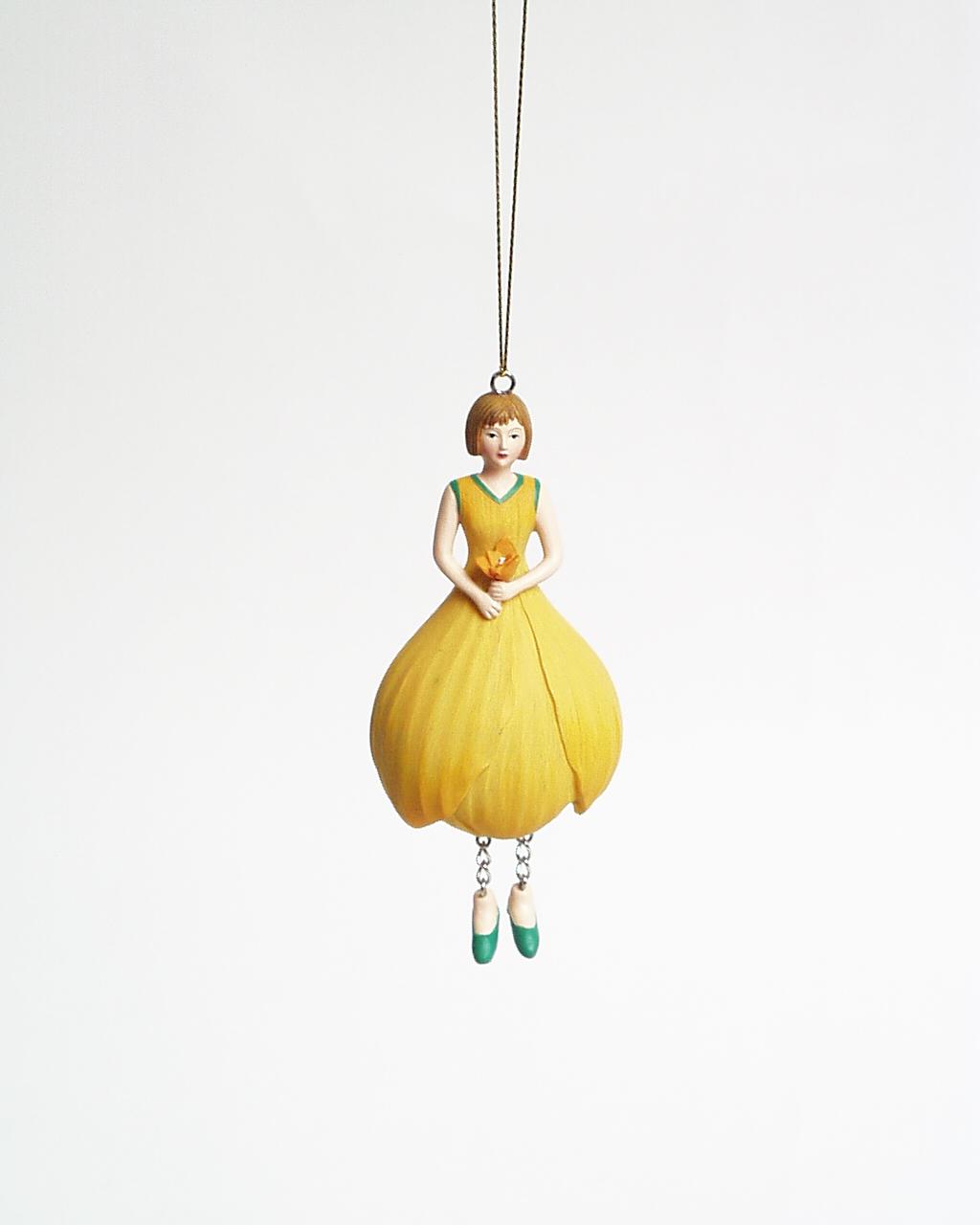 Krokus meisje hangend 12cm geel