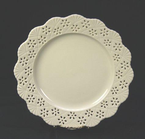 Bordje Creamware opengewerkte rand dia 20cm