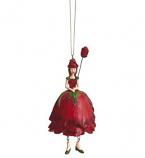 Rozenmeisje hangend rood 12cm
