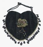 Tasje hartvorm zwart 15,5x17cm