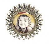 Fotolijstje goudkl. strass rond 9,5x9,5cm