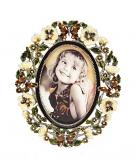 Fotolijstje email vlinders/bloemen 19x15cm