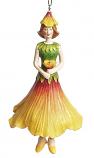 Hibiscus meisje hangend 12cm geel