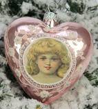 Kerstbal hart meisje roze