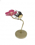 Kolibri met roze bloem 26cm