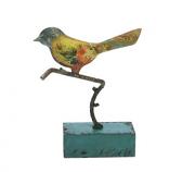 Vogeltje staand metaal op RH voetje 12x17x4cm