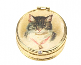 Doosje Kat met bel rond 4cm