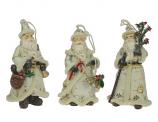 Set van 3 Santa ornamenten Creme