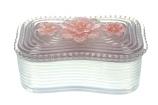 Doosje bloem roze/zilverkleurig 13,2x8,3cm