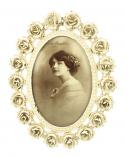 Fotolijstje roosjes crème ovaal 17x22cm