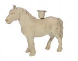 Kandelaar paard crème 21,5x6,5x18cm