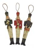 Set van 3 ornamenten Soldaatjes antique look