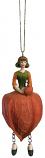 Lampion meisje oranje hangend 12cm
