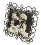 Fotolijstje vierkant tin met strass 10x10cm