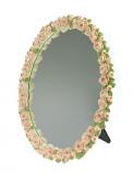 Spiegel ovaal roosjes roze 32x40cm