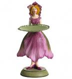 Kerstroos meisje kaarsenhouder roze 16cm