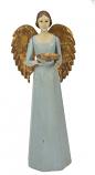 Engel Antique met schaaltje blauw 36 cm