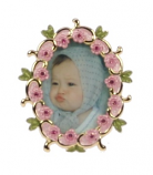 Fotolijstje mini ov.roze bloem 3,5x4cm