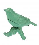 Doosje vogeltje op tak turquoise 9,5x5,5x7,5cm
